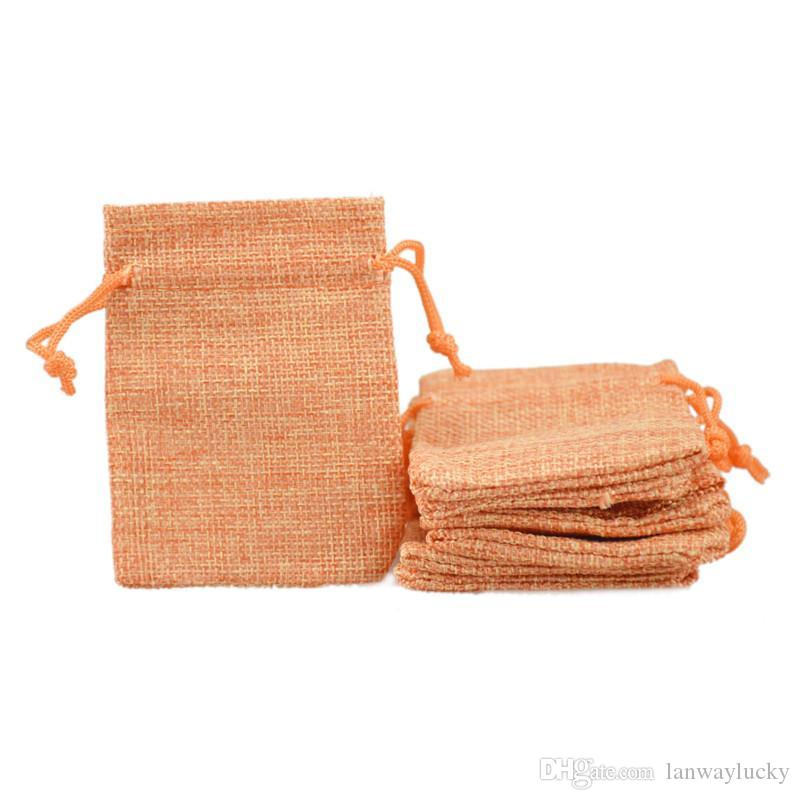 الحقائب الجوت فو 50 قطع الرباط مجوهرات أكياس أنيقة أكياس صغيرة الكتان الخيش فارغة قابلة لإعادة الاستخدام هدية النسيج تغليف الخرز الحلوى 7x9 سنتيمتر kpcl