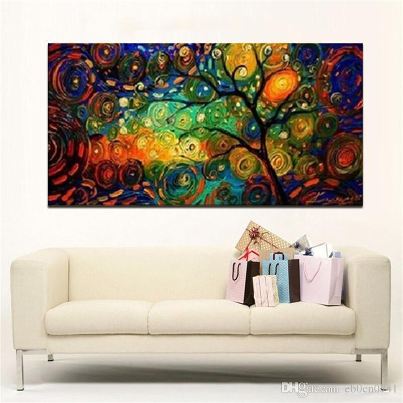 Arte da lona Moderna abstrata painel de parede decoração fazer uma fortuna árvore obra de arte pintura a óleo imagem decoração de casa