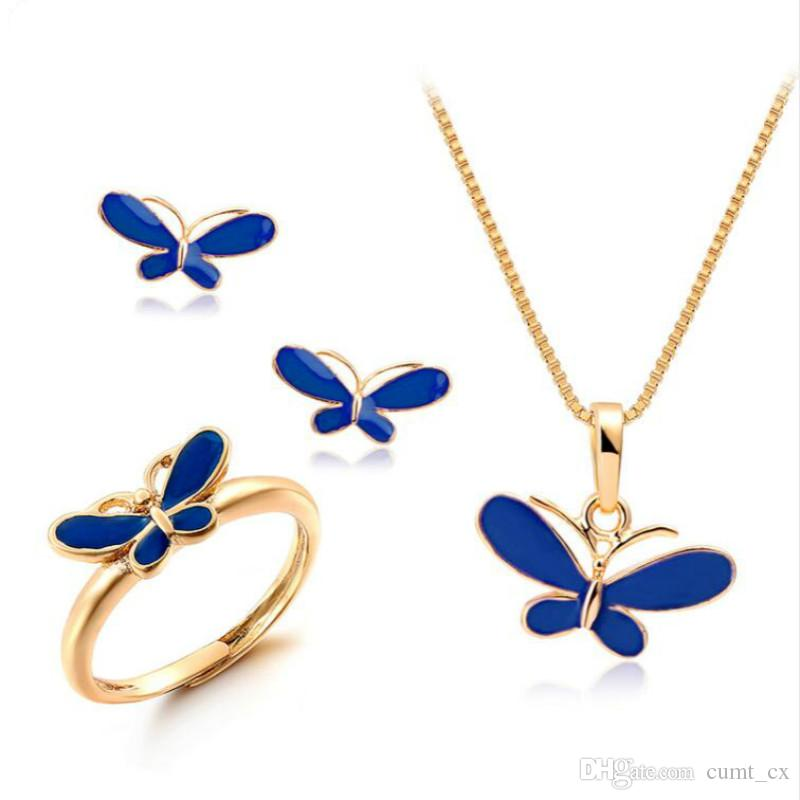 Lindo colgante de aceite azul mariposa collares pendientes colgantes anillo pequeños conjuntos de joyas para niños niños niñas color oro joyería