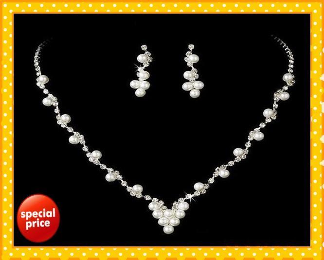 Estoque 2021 Incrível Designer Peals Crystals Bridal Jóias Coroas Tiaras Headpieces Casamento Quente Jóias Nupcial Conjuntos Jóia Da festa de casamento