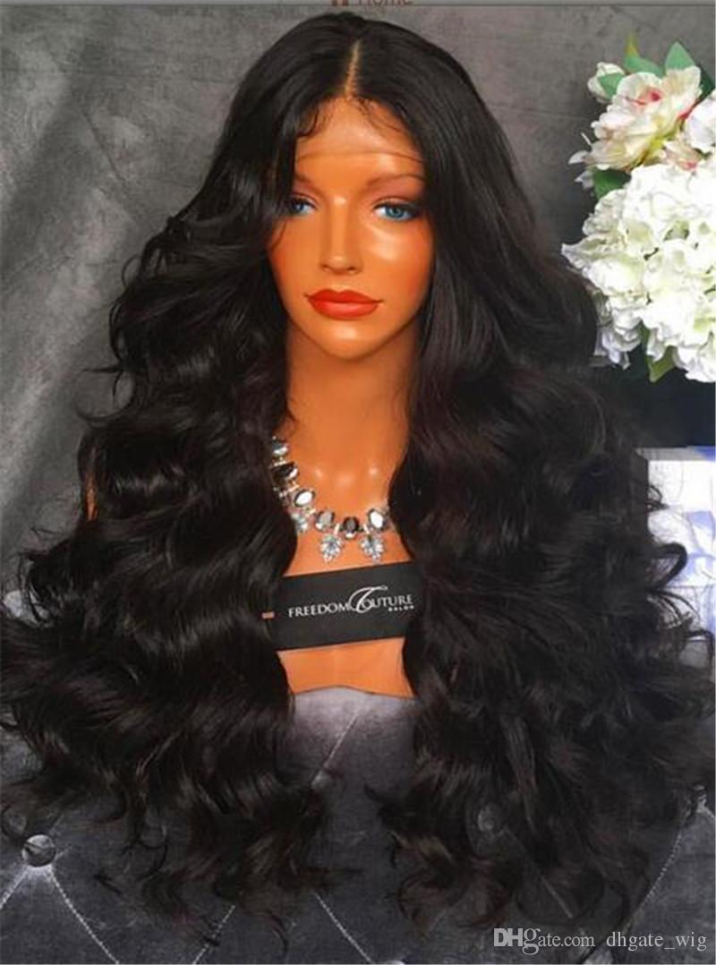 Pelucas llenas del cordón del pelo humano brasileño 7A Pelucas delanteras del cordón de Beyonce con las pelucas llenas sin cordón del cordón del pelo del bebé Freeshipping