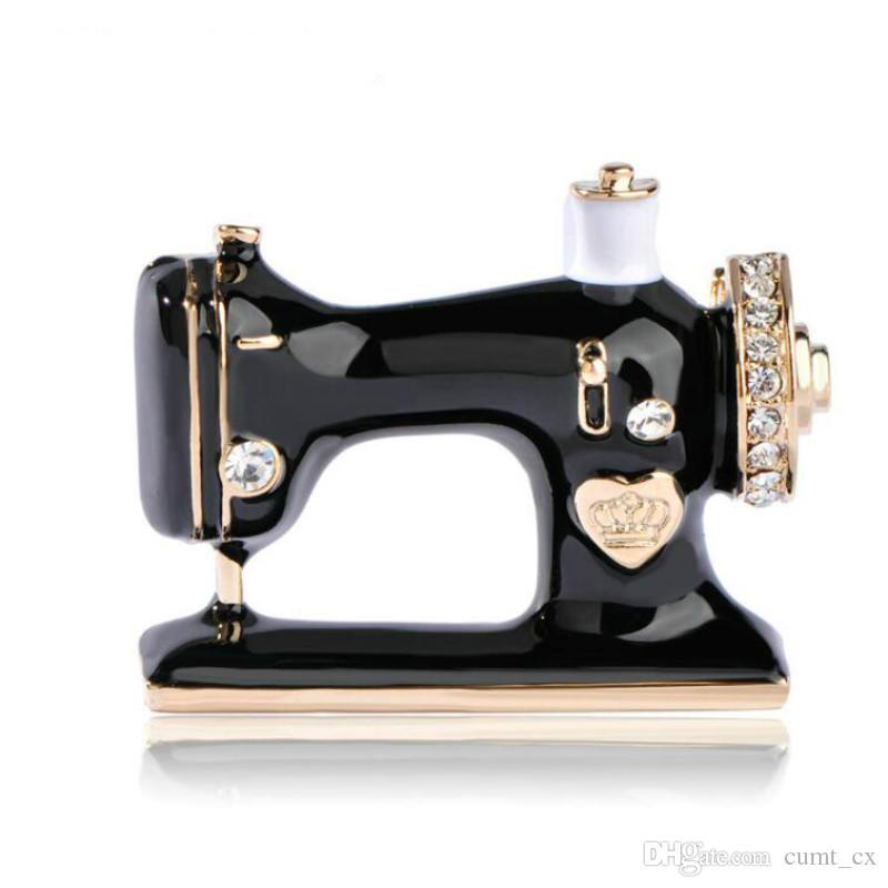 Mujeres Niñas Máquina de coser Broche Negro Esmalte Broches Joyería Hijab Pin Para Collar Traje Bufanda Accesorios de Decoración