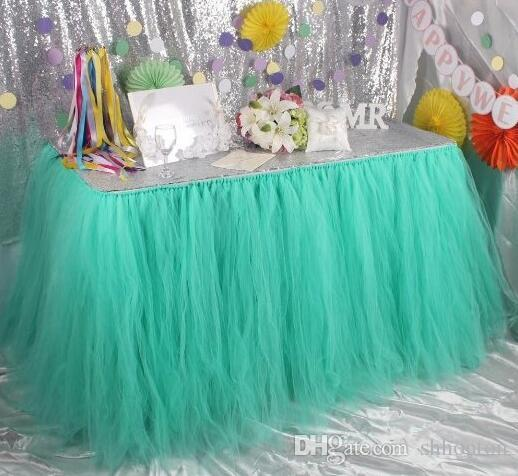 Tutu Table Decoration for Weddings Invitation Birthdays Baby Bridal Showers Parties Tulle Table Skirt free shipping WQ19