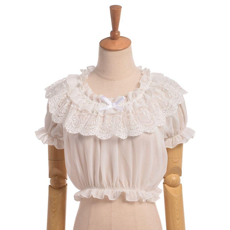 1pc Lolita Women Lace Chiffon Blouse Short Puff Sleeve Frilly Shirt Tops High Quality Fast Shipment