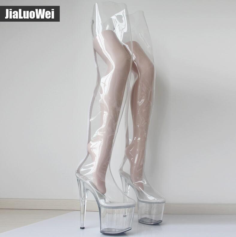 Kadınlar 20cm Aşırı Yüksek Topuklar 9CM Platformu Net PVC Aşırı Diz Yüksek Boots Seksi Fetiş Zip Defilesi Şeffaf Kasık Önyükleme