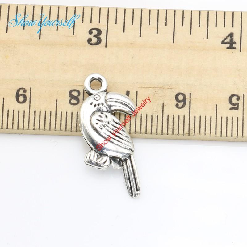 20 stücke Antikes Silber Überzogene Papagei Vogel Charms Anhänger für Halskette Schmuck Handgemachte Fertigkeit DIY 24x11mm