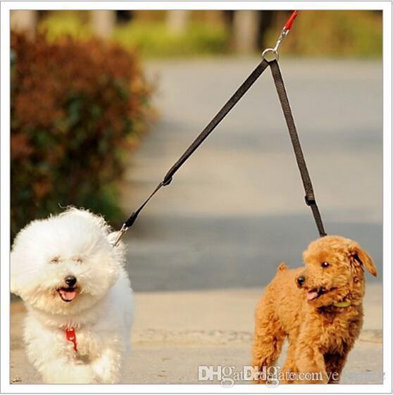 D26 Pet Dog Poliester Smycz / W Double Hook dla 2 psów jeden dla dwóch smyczy