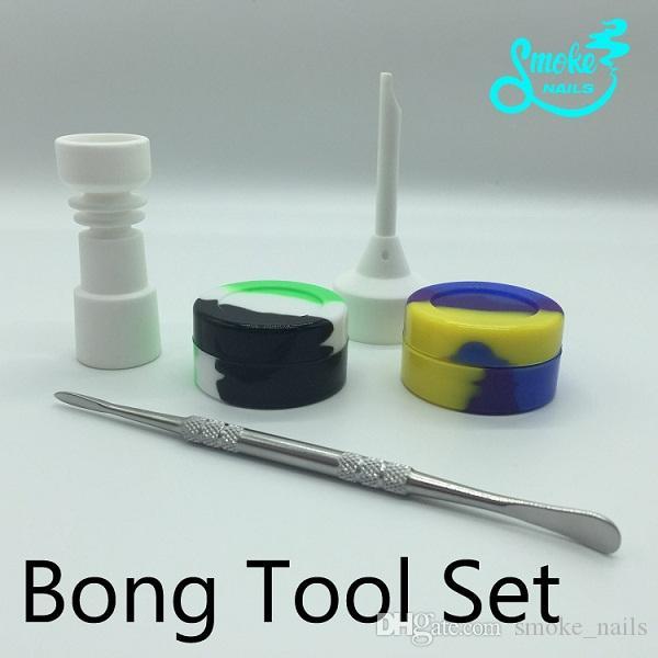 Grande barato Bongs Tool Set com 10mm 14mm feminino Cerâmica Prego carb cap Dabber Slicone Jar Dab em estoque frete grátis