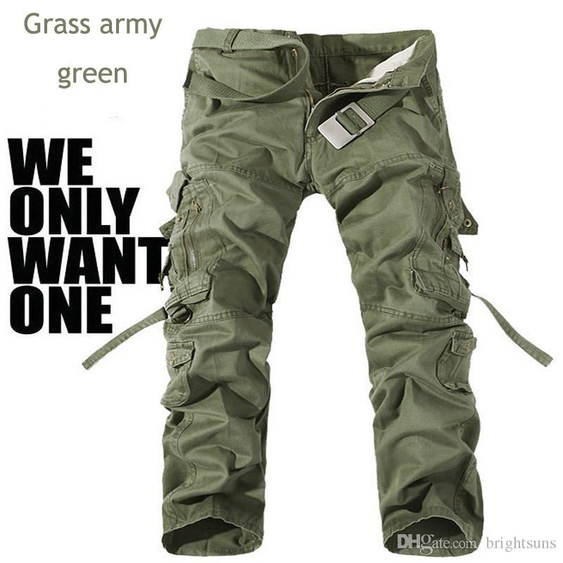 L'uomo multiuso del carico della tasca dei militari di modo degli uomini ansima i pantaloni all'aperto diritti lunghi casuali del Pantalones dei pantaloni del cammuffamento Hombre