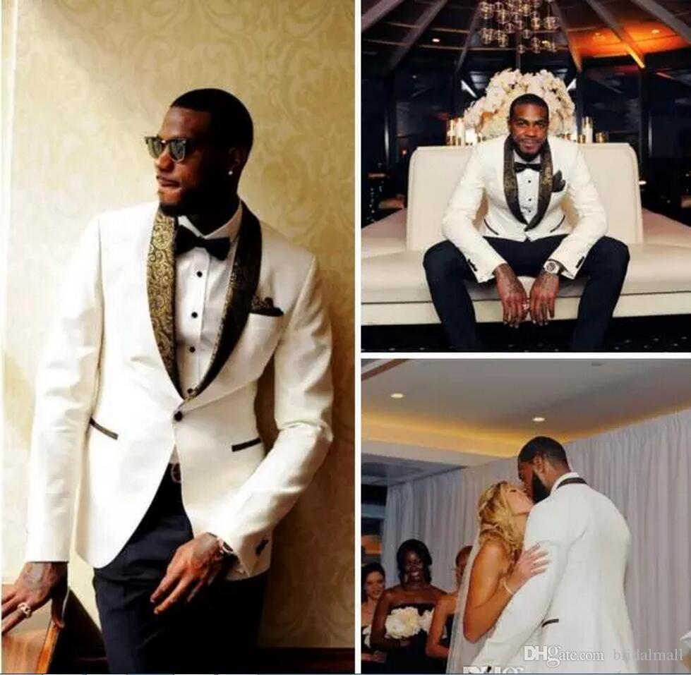 2019 Designer de mariage blanc Groom Hommes Costumes Slim Fit Epoux Le meilleur homme Smokings Custom Made (veste + Hankercheif)