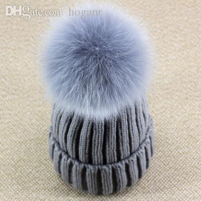 Véritable grand raton laveur fourrure Pom Pom Femmes Filles Hiver Tricot Bonnet Pompon Ski Chapeau EHM