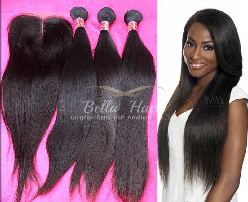 100٪ لحمة الشعر البشري مع إغلاق المنغولية مستقيم الشعر 3 قطع مع الدانتيل إغلاق الجزء الأوسط 4 قطعة / الوحدة اللون الطبيعي