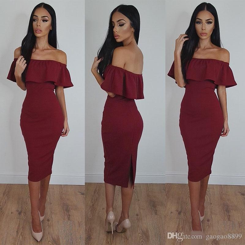 2019 Burgundy Sexy Mermaid Prom Dresses Off-Shoulder Tea-Length Bodycon Cheap Dresses for Women Sexy Formal Evening Party Gowns