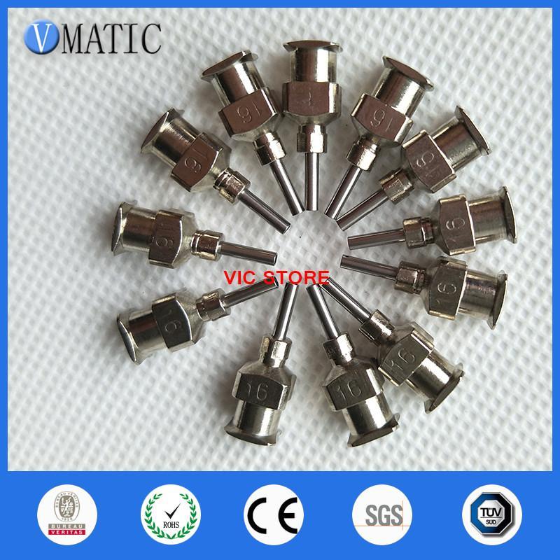 Envío gratis de alta precisión todos los puntas de metal 16G 1/4 pulgada Blunt acero inoxidable 12PCS agujas de dispensación puntas de la jeringa