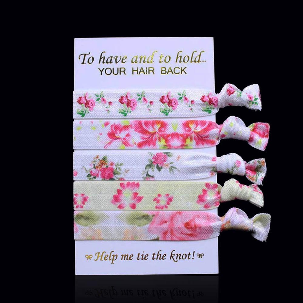 """5/8 """"15mm elastische Haargummis, schöne Blumenmuster-Haarband-Kinderkopfbedeckung, 5 Stücke / Satz und 10 Sätze / Los, freies Verschiffen"""