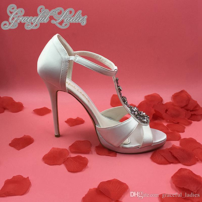 Elegante Strass T-cinta Casamento Sapatos Mulheres Sandália De Espessura Plataforma De Cristal Preto / Branco De Cetim Sapatos De Noiva Senhoras Sandálias 2015