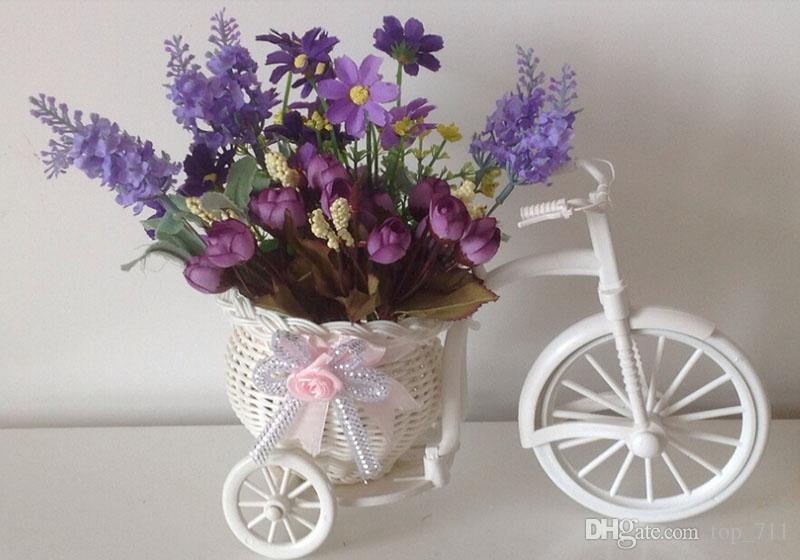 Compre Tela Flores Artificiales Lavanda Con Plástico Rota Jarrón De La Bicicleta Decoración Del Hogar De Navidad Falso Arreglo Floral Envío Gratis A
