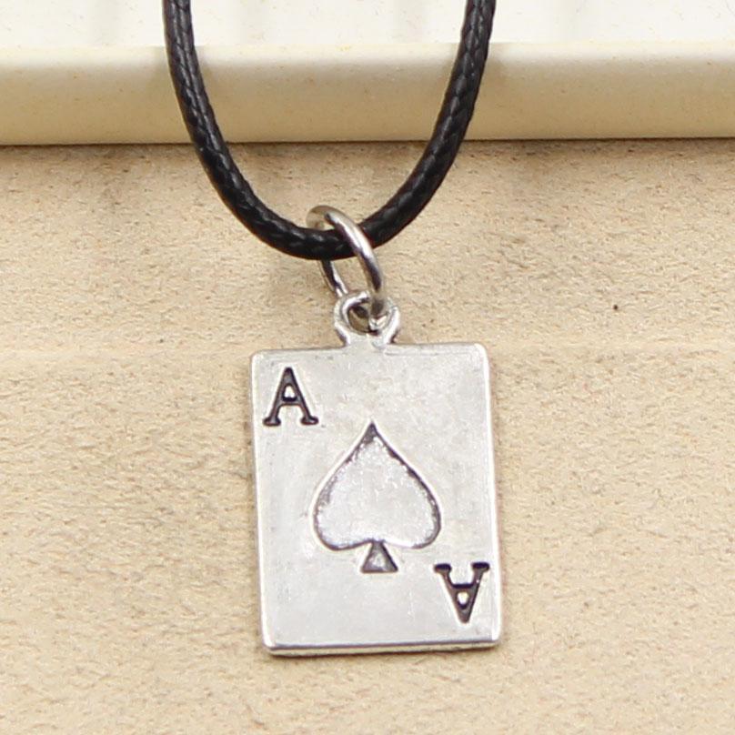 12pcs nuevo de la manera de plata tibetana colgante de póquer cosas por su 20 * 12mm Collar Gargantilla Negro Charm cordón de cuero del precio de fábrica hecha a mano Jewlery