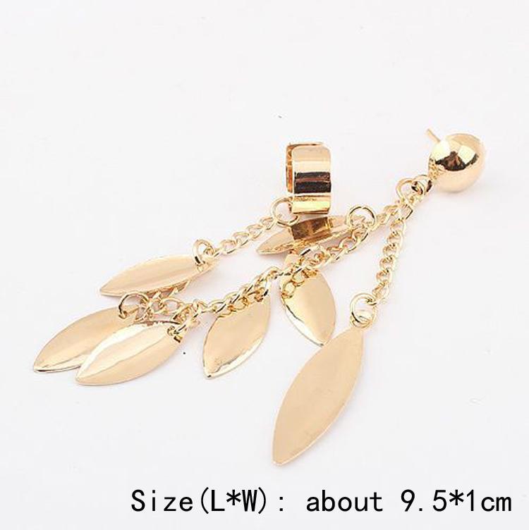 1pc New Fashion Women Girl Punk Rock Leaf Chain Tassel Dangle Cuff Earrings Charms Metallic Wrap Ear Cuff Earrings