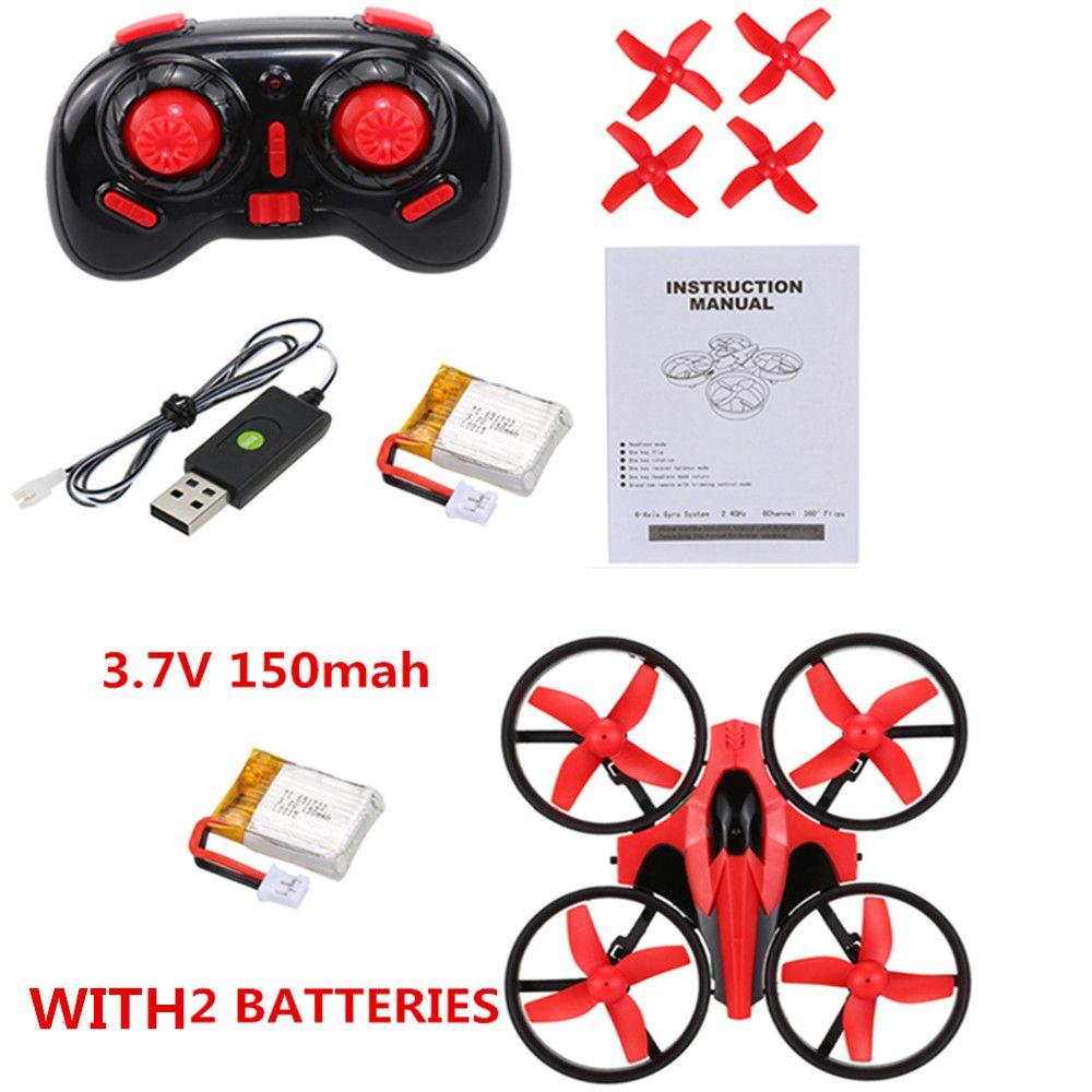 Mini RC Drone con baterías de 2 unids 2.4G 4CH 6-AXIS GYRO RC Quadcopter RTF OVNI Mini Drone con el modo 3D-flip / sin cabeza con baterías adicionales