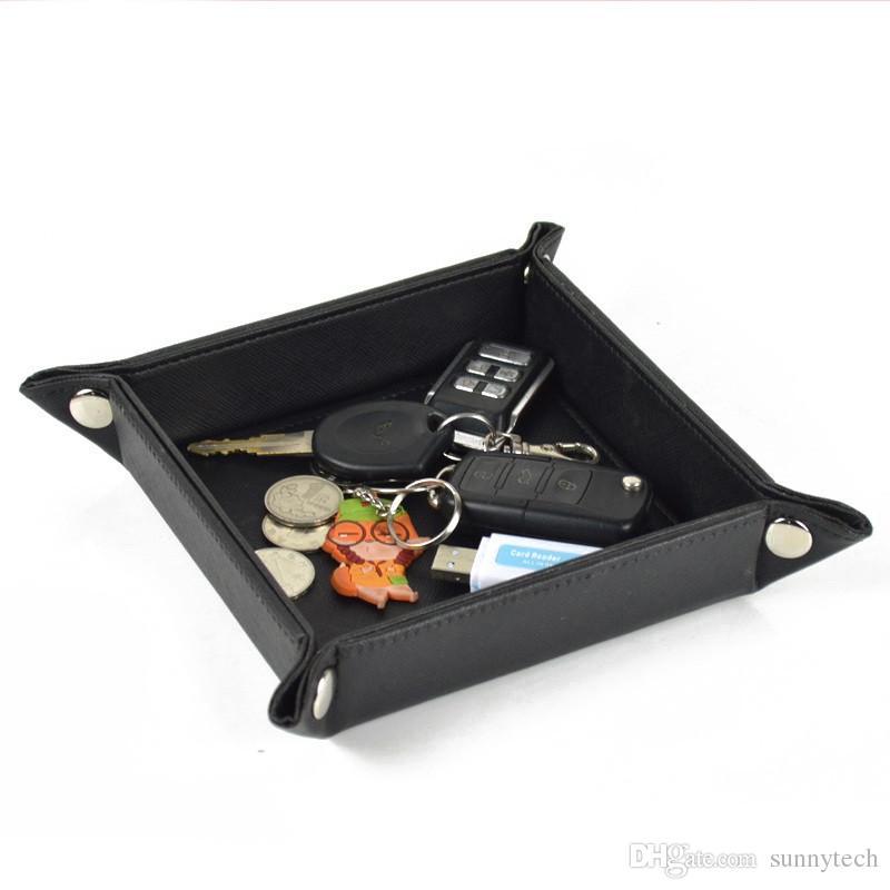 Creative Folding PU Leather Storage Box Desk Covered Button Storage Tray Portable Home Office Small Change Organizer Box LZ0400