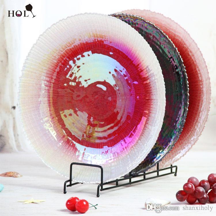 Holy 13inch New Claassic Design Hotsale Rundes Knisternglas bunt 8 stücke / ctn Ladegerät Platte für geschirr