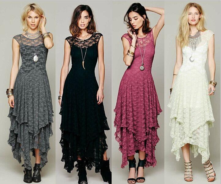 Nice Ladies Fashion Sexy Lace Dress Irregular High&Low Long Women Casual Dresses Sleeveless Sheer Hollow Two-piece Winter Dresses for Women