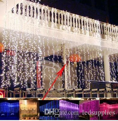2 M * 1 M 104 lâmpadas CONDUZIU a Cortina de luzes de Natal ano novo feriado festa de casamento decoração luminaria Garland iluminação interior AC 110 V-250 V