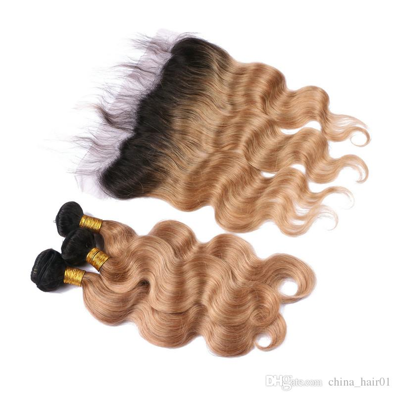 Body Wave 1B/27 Honey Blonde Ombre Brazilian Virgin Hair with 13x4 Lace Frontal Closure Dark Root Ombre 3Bundles with Full Lace Frontals