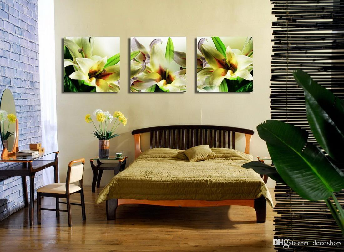 Beautiful Greenish Lily Flower Floral Painting Giclee Print On Canvas Home Decor Wall Art Set30140