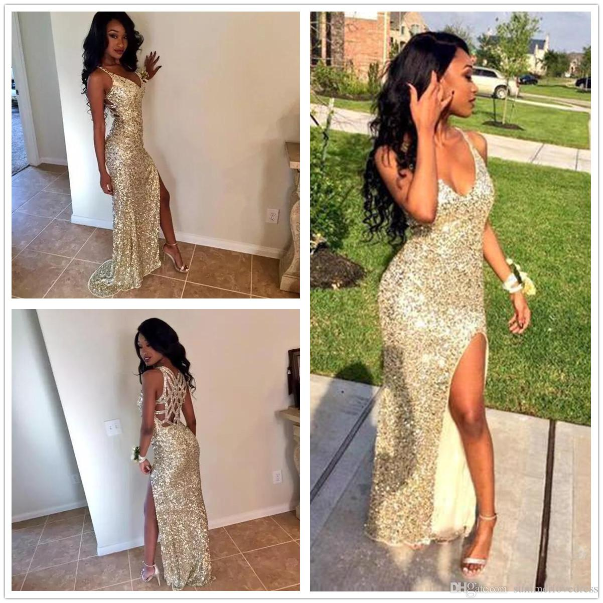 2018 neue schwarze Mädchen Afrika Gold Pailletten Prom Kleider Split Criss Cross bodenlangen formale Party Abendkleider