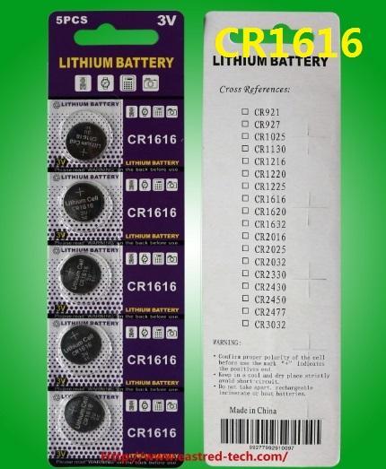 500cards / lot Super Power CR1616 3V Lithium-Knopf-Münzzellenbatterien 5pcs pro Blister-Karte