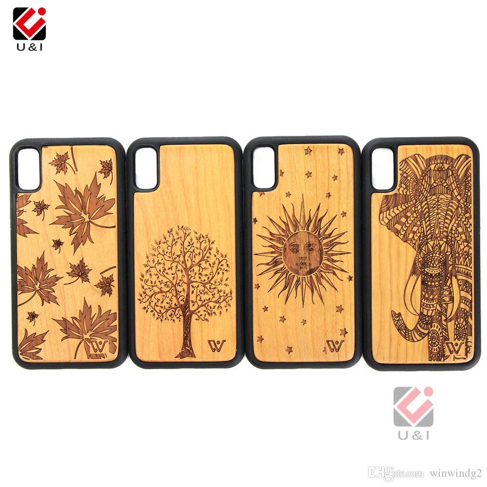 Мода Индивидуальные природы Гравировка дерева Телефон Чехлы Слон Узор для iPhone 11 12 13 X XS MAX XR 8 Оболочка задней крышки