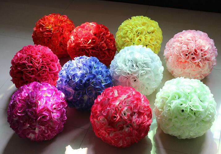 Kissing ball Wedding silk Pomander Encrypt hanging flower ball decorate artificial flower decoration for wedding party market supplies FB011