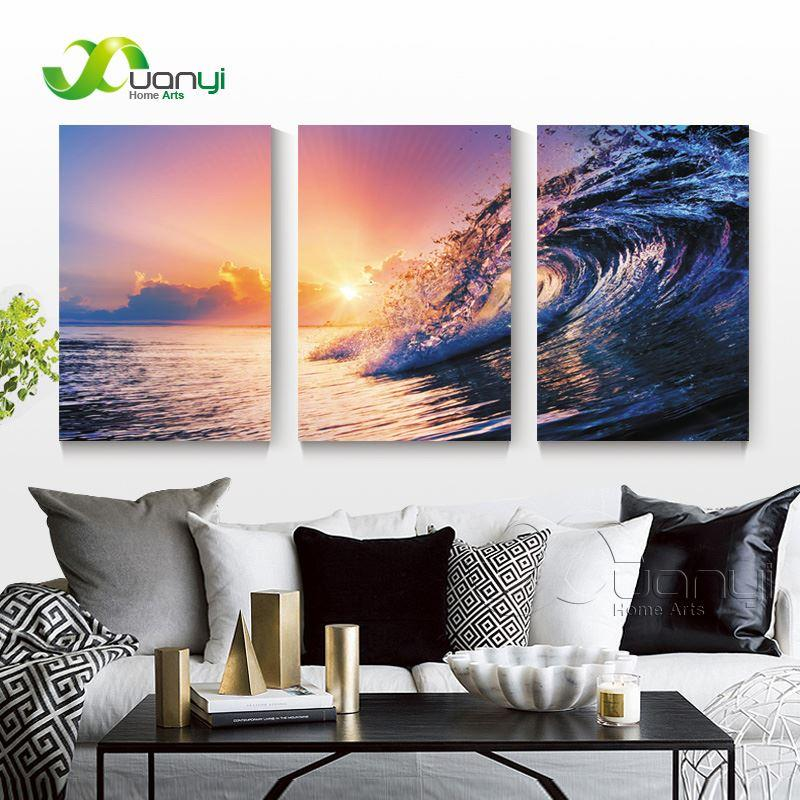 3 Panel Sunset Seascape Sea Wave Oil Canvas Painting Wall Art Picture For Living Room Modern Printing Unframed PR1286