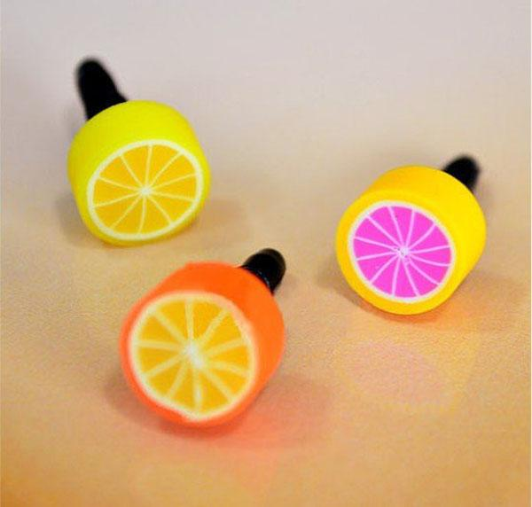 Wholesale 1000pcs/lot Cute Fruit anti dust plug for iphone and 3.5mm earphone cap for mobile phone free shipping