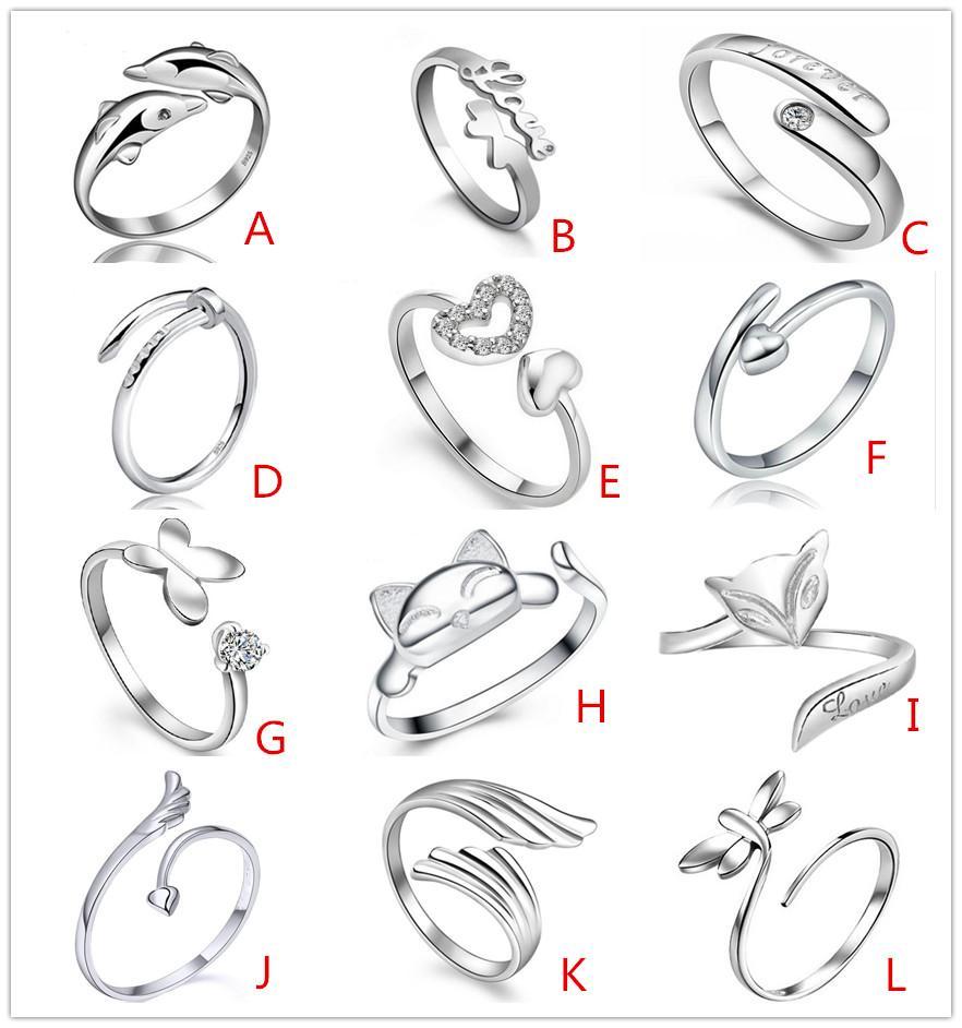 925 Sterling Silver banhado Jewerly Anéis Coração Golfinhos Libélula Asas Do Anjo Amor Fox Borboleta Opening Anel Ajustável Para Mulheres