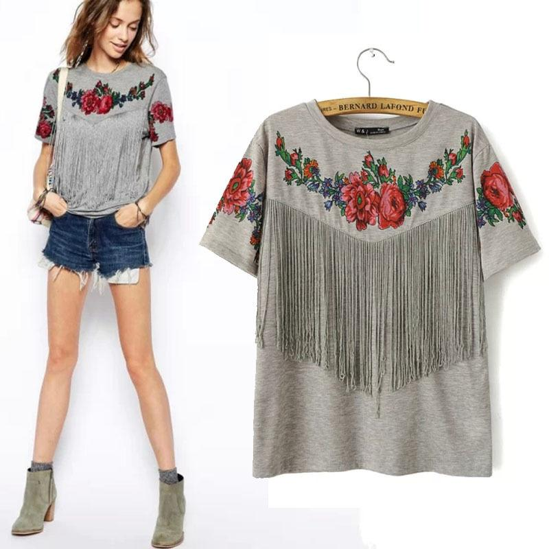 BRSR 2020 Sommer-neue Frauen-Großhandel Short Sleeve Brust Quaste Fransen Roses Blumenmuster mit Rundhalsausschnitt Grau Tribal High Street-T-Shirt