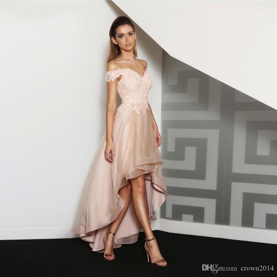 Blush Pink 2019 Off The Shoulder Prom Dresses High Low Lace Applique Party Arabic Dress Kaftan Dubai Organza Formal Evening Gowns Panoply Prom Dresses