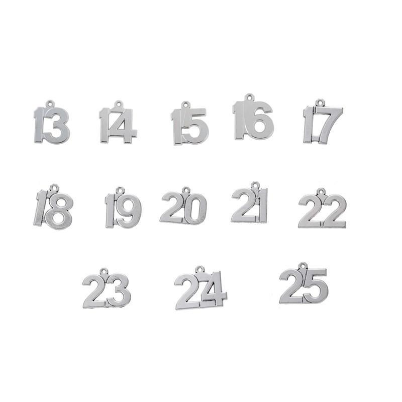 1-100 numero fortunato fascini di compleanno tibetano tono argento fai-da-te ciondoli pendenti in forma braccialetto creazione di gioielli fai da te