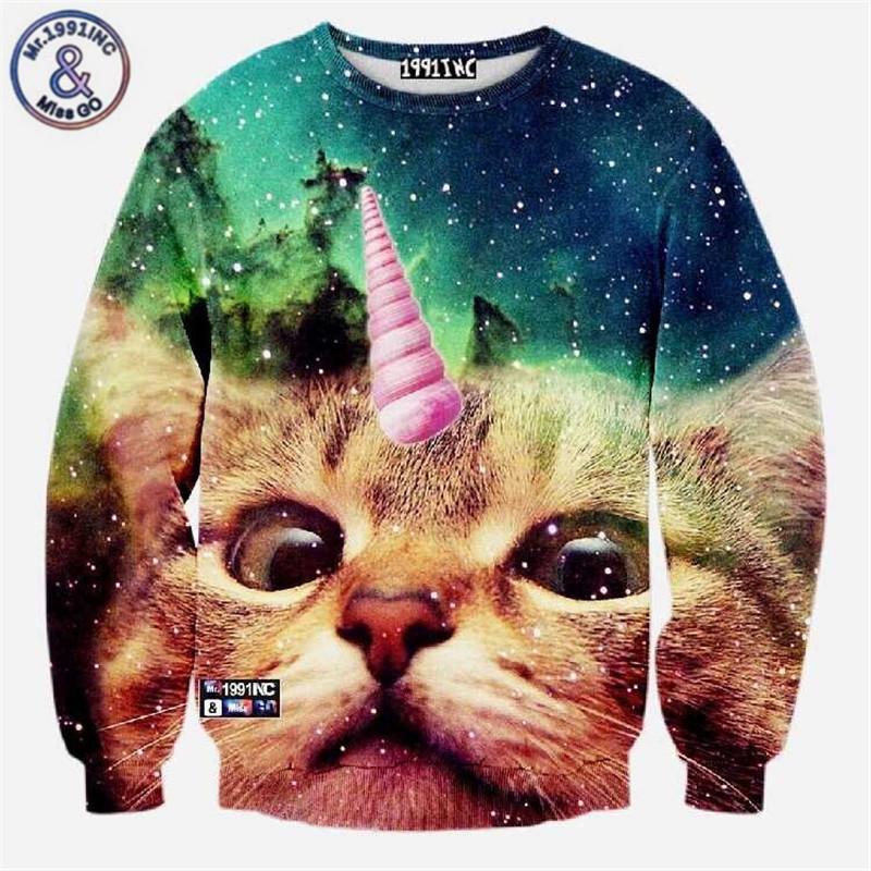 Atacado- homens / mulheres Harajuku animal print de leopardo tigre gato pullover hoodies 3d engraçado galáxia sudaderas espaço moletom encabeça roupas