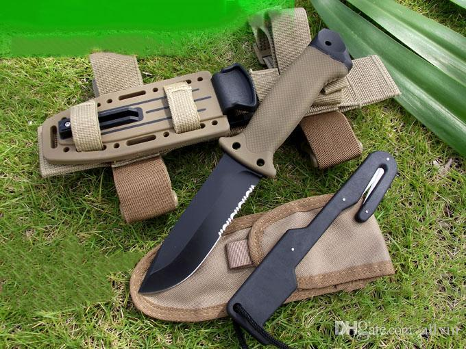2020 New High Quality Survival Straight Knife 420HC Drop Point Half Serration Black Blade Outdoor Camping Rescue Knives