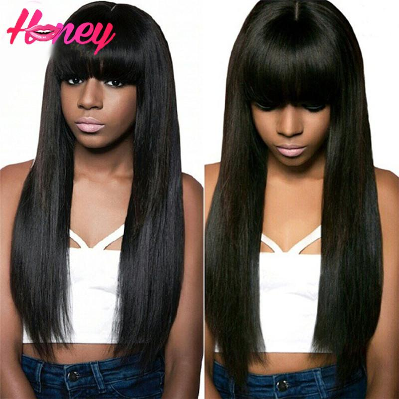 """Brazilain Human Hair Wigs With Bangs Straight Natural Hairline 8""""-24"""" 130 Density Soft Lace Front Human Hair Full Lace Wigs Free ship by DHL"""