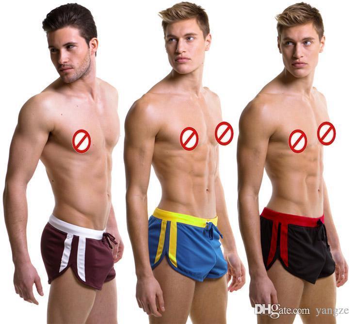 Hot Sexy Männer Sport Shorts Haushalt Sport Shorts mit G-Schnur Jocks Straps Innentasche Gym Trunks Mesh-Quick-Dry-Boxer M L XL 7063
