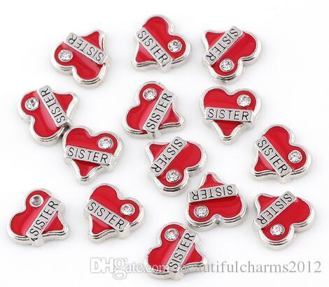 (20 , 50)шт./лот Красный сестра сердце плавающей медальон подвески, пригодный для магнитного стекла памяти медальон ювелирные изделия делая