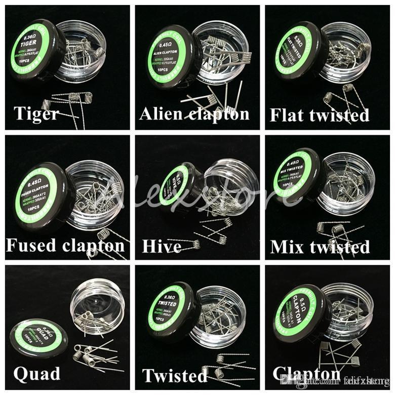 Arame trançado planificado fundido clapton bobinas Hive premade envoltório fios Alien Mix torcido Quad Tiger 9 Resistência Ao Aquecimento Diferente 10 pçs / caixa para Ecig