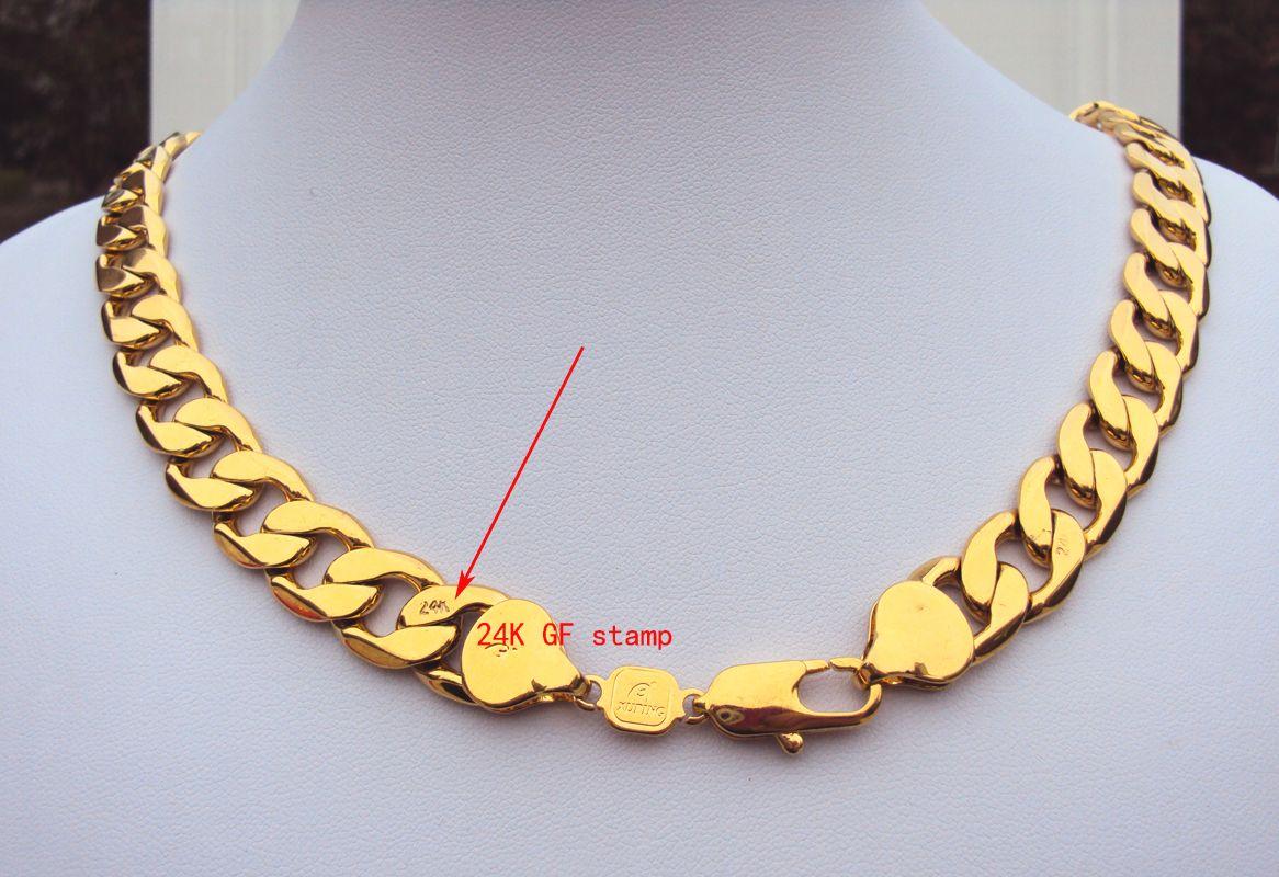 peso pesado! 108g 24 k selo real amarelo sólido ouro 23.6 dos homens colar 12 MM cadeia de freio 600 mm jóias mint-mark lettering 100% de ouro real,