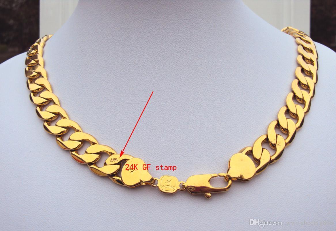 Peso pesado! 108g 24k selo real amarelo ouro maciço 23.6 Colar dos homens 12mm corrente de freio 600mm jóias mint-mark letras 100% real ouro,