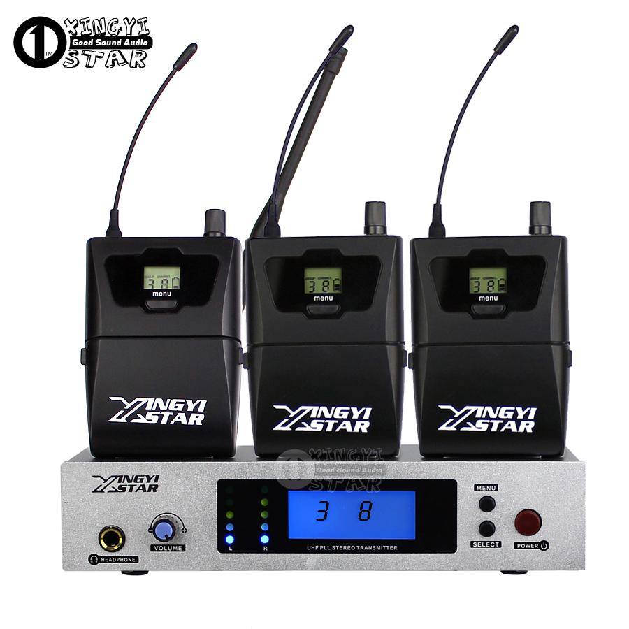 Wireless Recording Studio Stereo In Ear Monitor System Professional Stage Monitoring in Earphone 3 Receiver With One Cordless Transmitter