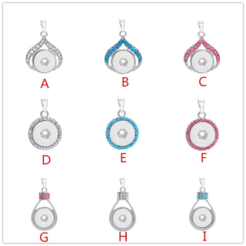 2016 New Hot Style NOOSA Ginger Snap Button Charms Jewelry Interchangeable Jewerly Crystal Pendants Necklace 3 Colors